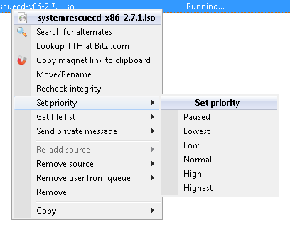 Download Queue context menu